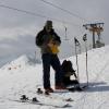 """Piz Turba - Markus beim jungfreulichen """"Fellnen"""" zuoberst im Skigebiet Bivio"""