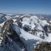 Piz Bernina - Piz Scerscen und Piz Roseg und in der Ferne die Walliser 4000er