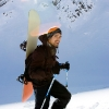 Piz Lagrev - Snowboard auf Mann und Richtung Piz Lagrev.